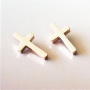 Jewelry - Gold Cross Stud Earrings